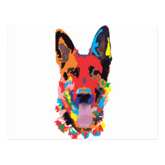 German shepherd color postcard
