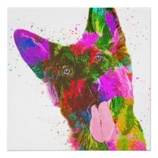 German Shepherd Colorful Pop Art Poster