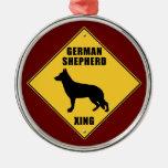 German Shepherd Crossing (XING) Sign Christmas Ornaments