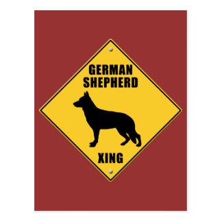 German Shepherd Crossing (XING) Sign Postcard