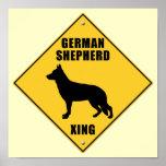 German Shepherd Crossing (XING) Sign Print