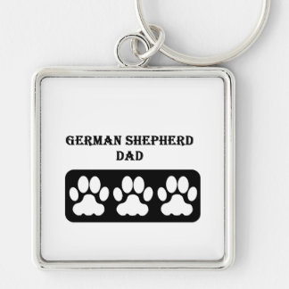German Shepherd Dad Silver-Colored Square Keychain