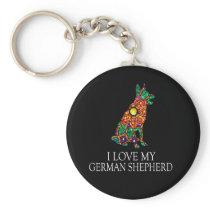 German Shepherd Design Love my GSD Stained Glass Keychain