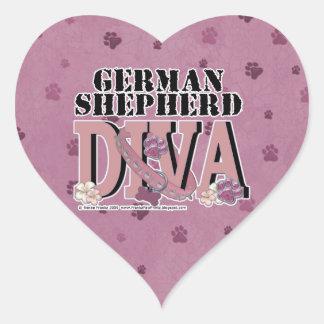 German Shepherd DIVA Heart Sticker