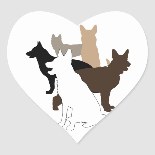 German Shepherd Diversity and Love Heart Sticker