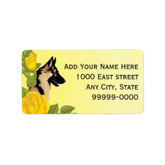 German Shepherd Dog and Yellow Roses Label
