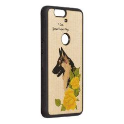 Carved ® Google Nexus 6p Bumper Wood Case with German Shepherd Phone Cases design