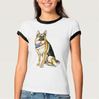 """""""German Shepherd"""" Dog Art Ladies Ringer T-Shirt"""