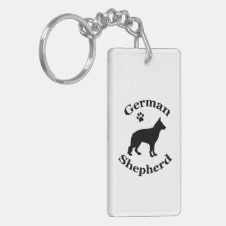 German Shepherd dog beautiful black silhouette Double-Sided Rectangular Acrylic Keychain