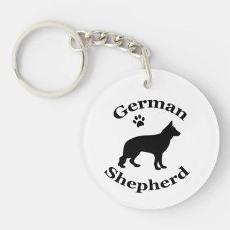 German Shepherd dog beautiful black silhouette Double-Sided Round Acrylic Keychain