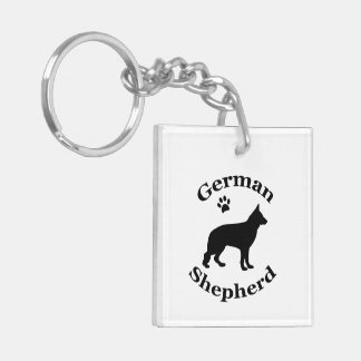 German Shepherd dog beautiful black silhouette Double-Sided Square Acrylic Keychain