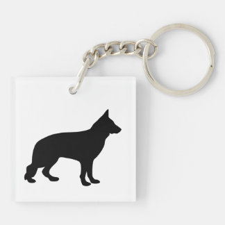 German Shepherd dog beautiful black silhouette Square Acrylic Key Chain