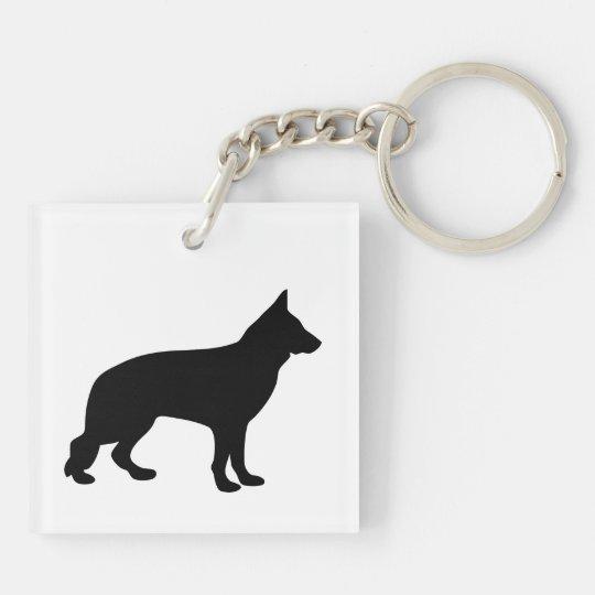 German Shepherd dog beautiful black silhouette Keychain