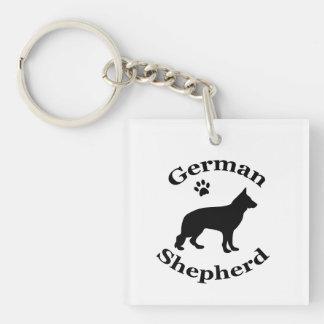 German Shepherd dog beautiful black silhouette Single-Sided Square Acrylic Keychain