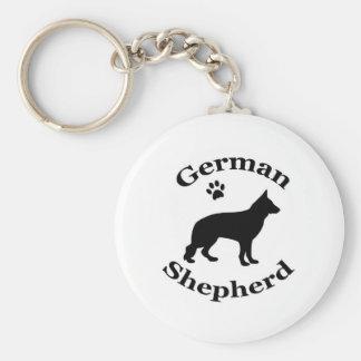 german shepherd dog black silhouette paw print basic round button keychain