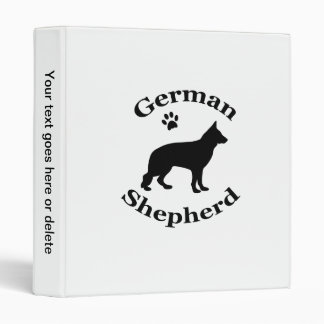 german shepherd dog black silhouette paw print binder