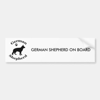German Shepherd dog black silhouette paw print Car Bumper Sticker