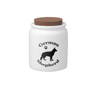 German Shepherd dog black silhouette paw print Candy Jar