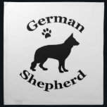 "German Shepherd dog black silhouette paw print Cloth Napkin<br><div class=""desc"">Black silhouette of a german shepherd dog,  alsatian paw print table napkin.   great gift idea for dog lovers</div>"