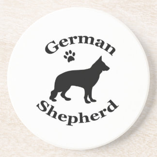 german shepherd dog black silhouette paw print coaster