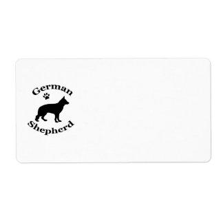 german shepherd dog black silhouette paw print label