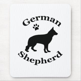 german shepherd dog black silhouette paw print mouse pad