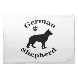 German Shepherd dog black silhouette paw print Placemat