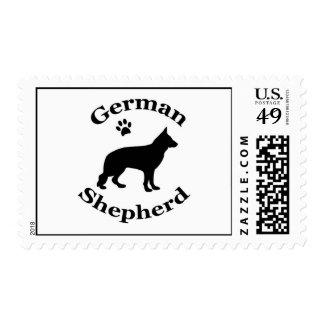 german shepherd dog black silhouette paw print postage stamp