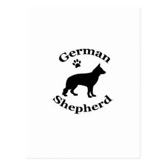German Shepherd dog black silhouette paw print Postcard