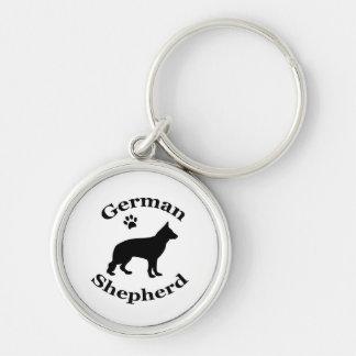 german shepherd dog black silhouette paw print Silver-Colored round keychain