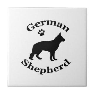 German Shepherd dog black silhouette paw print Small Square Tile
