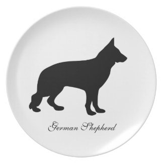 German Shepherd dog black silhouette plate