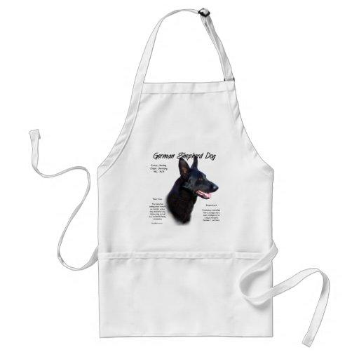 German Shepherd Dog (blk) History Design Aprons