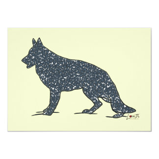 German Shepherd Dog + Blue Hearts Flat Note Cards Personalized Invites