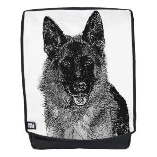 German Shepherd dog boldface backpack