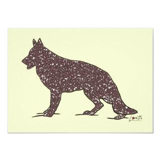 German Shepherd Dog + Brown Hearts Flat Note Cards