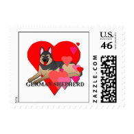 German Shepherd Dog Cartoon Hearts Postage Stamps
