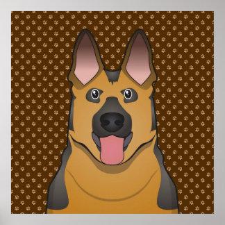 German Shepherd Dog Cartoon Paws Poster