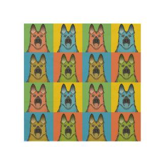 German Shepherd Dog Cartoon Pop-Art Wood Wall Art