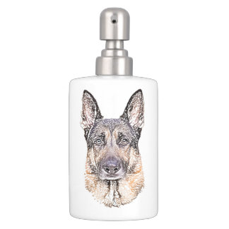 German Shepherd Dog Colored Sketched Art Bath Set
