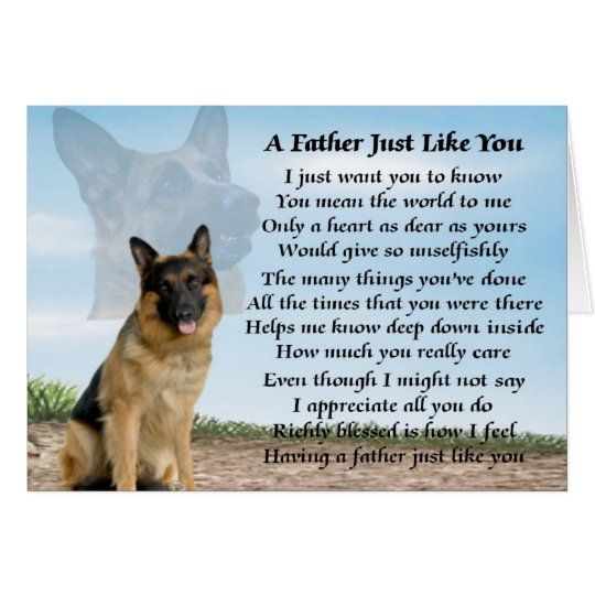 German Shepherd dog father poem Card | Zazzle.com