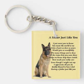 German Shepherd Dog Father Poem Keyring Single-Sided Square Acrylic Key Ring