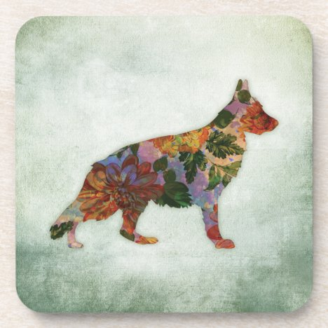 German Shepherd Dog Floral On Green Beverage Coaster
