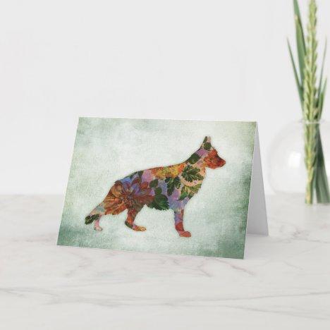 German Shepherd Dog Floral On Green Card