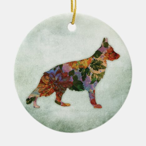German Shepherd Dog Floral On Green Ceramic Ornament