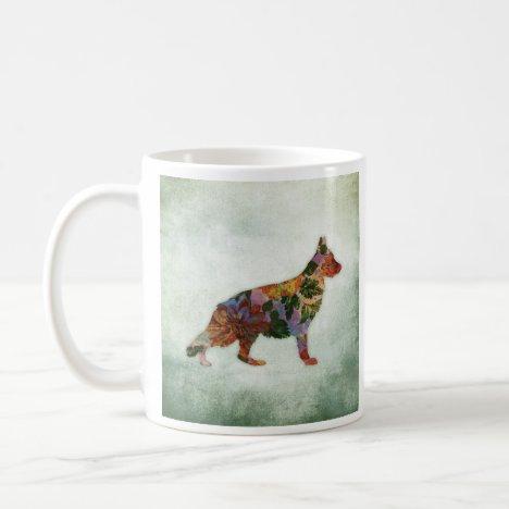 German Shepherd Dog Floral On Green Coffee Mug