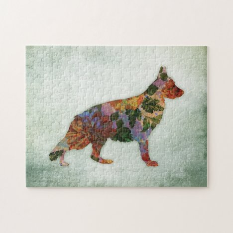 German Shepherd Dog Floral On Green Jigsaw Puzzle