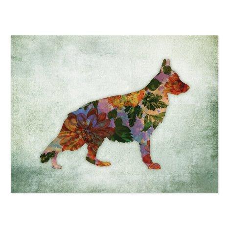 German Shepherd Dog Floral On Green Postcard