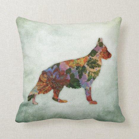 German Shepherd Dog Floral On Green Throw Pillow