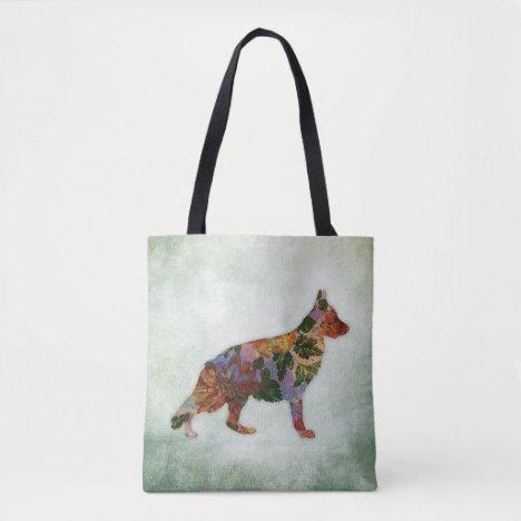 German Shepherd Dog Floral On Green Tote Bag